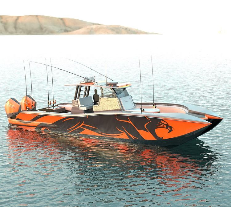 Jaguar Offshore 36 in Orange and Grey
